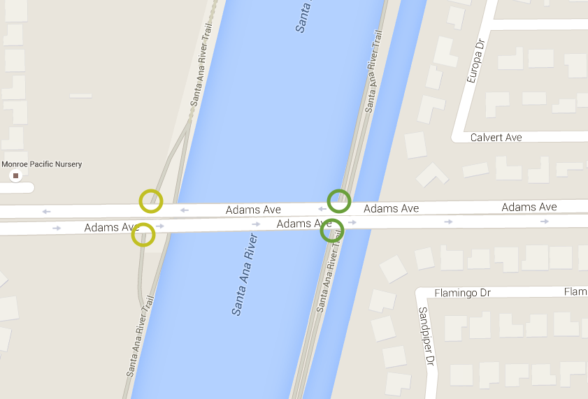 The Adams Ave. entrance to the Santa Ana River Trail. Image and map data from Google Maps 2015.