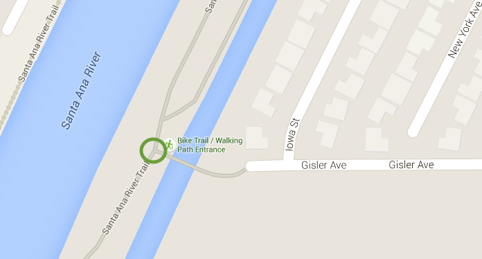 The Gisler Ave. entrance to the Santa Ana River Trail. Image and map data from Google Maps 2015.