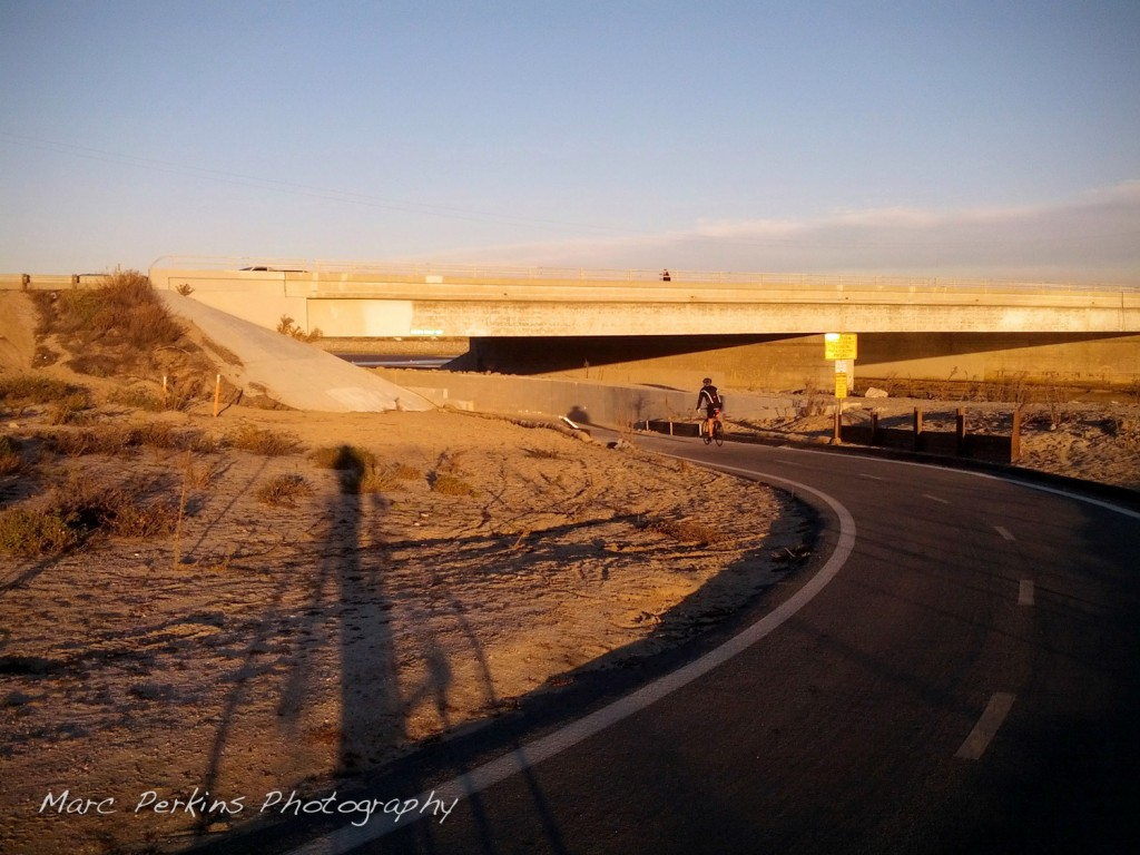 The Santa Ana River Trail curves around and passes under the Pacific Coat Highway (Highway 1) at its end.