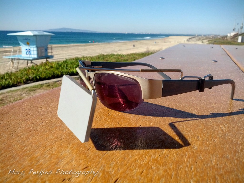 My Take A Look Cycling Original Eyeglass Mirror on the beach in Huntington Beach.
