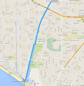 The length of the Santa Ana River Trail in Costa Mesa. Image from GoogleMaps
