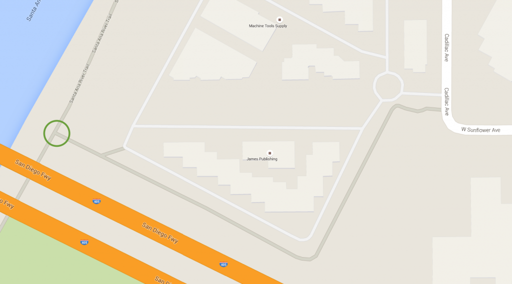 The Sunflower Ave. exit to the Santa Ana River Trail. Image and map data from Google Maps 2015.