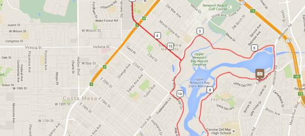 Map for my Costa Mesa to Newport Back Bay loop. Map data from Google 2016; ride details from RideWithGPS.