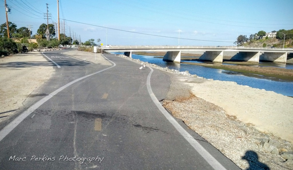 The Victoria/Hamilton entrance to the Santa Ana River Trail, seen from the south.