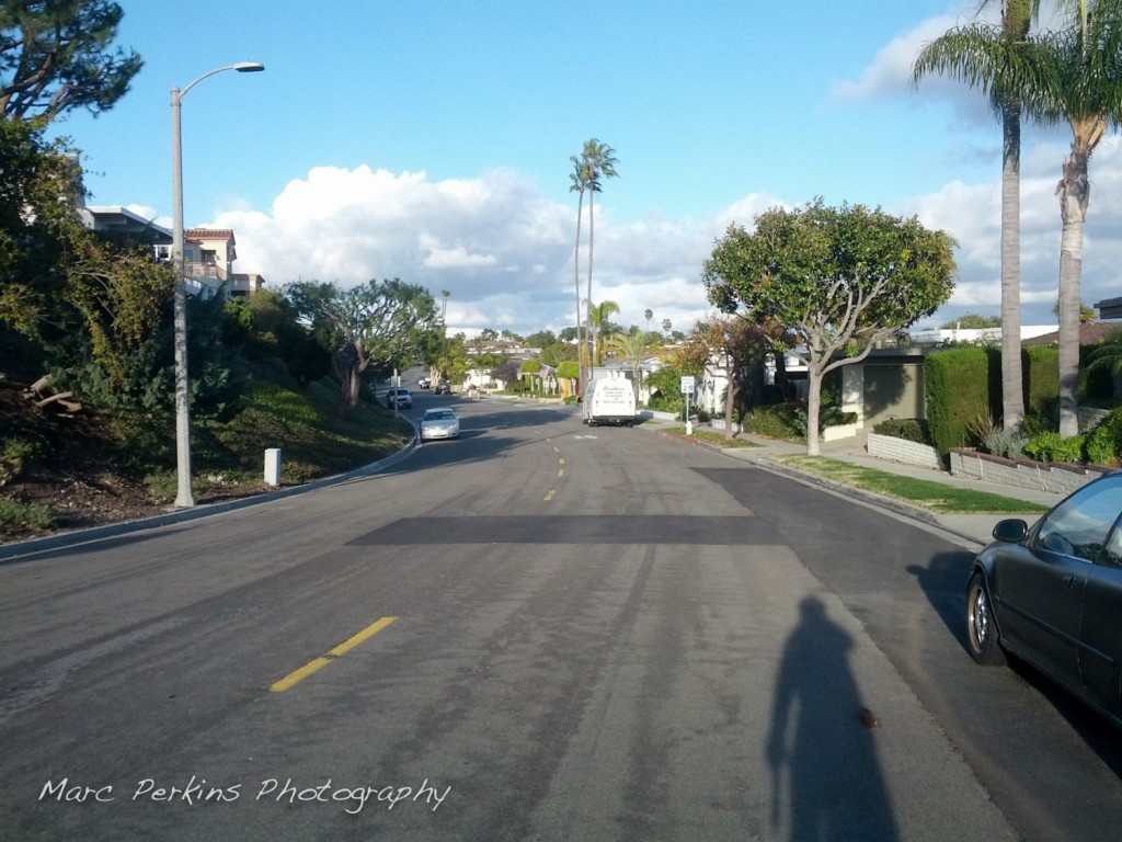A section of Santiago Drive in Newport Beach that you have to ride on to complete the Back Bay loop.