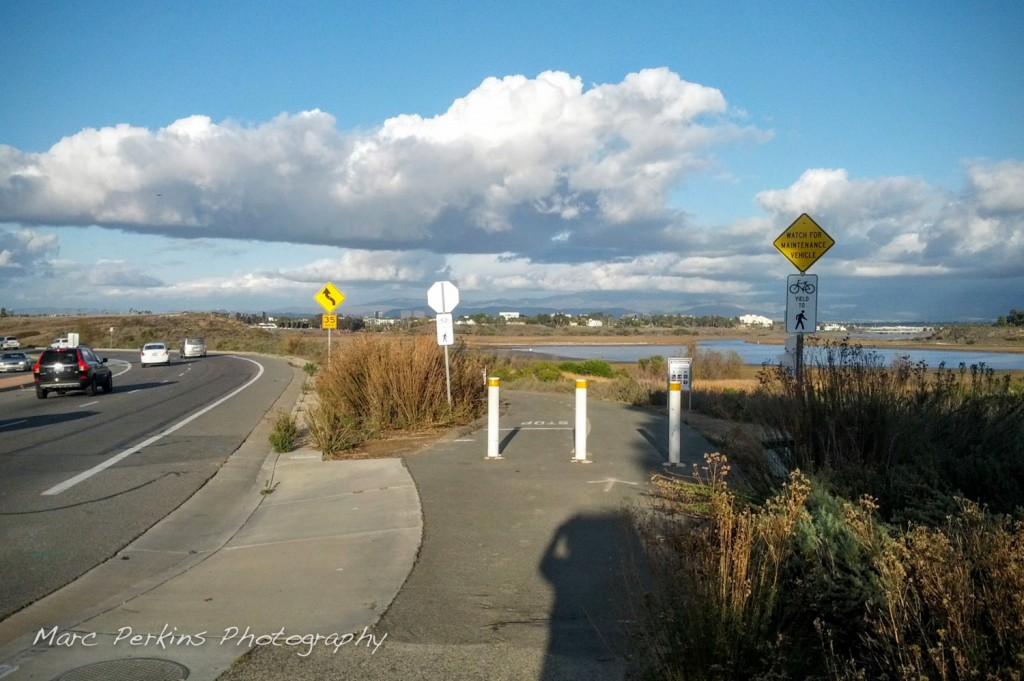 The entrance to the Bayview Trail (part of the Newport Back Bay loop) off of Irvine Ave. near Santiago Drive.