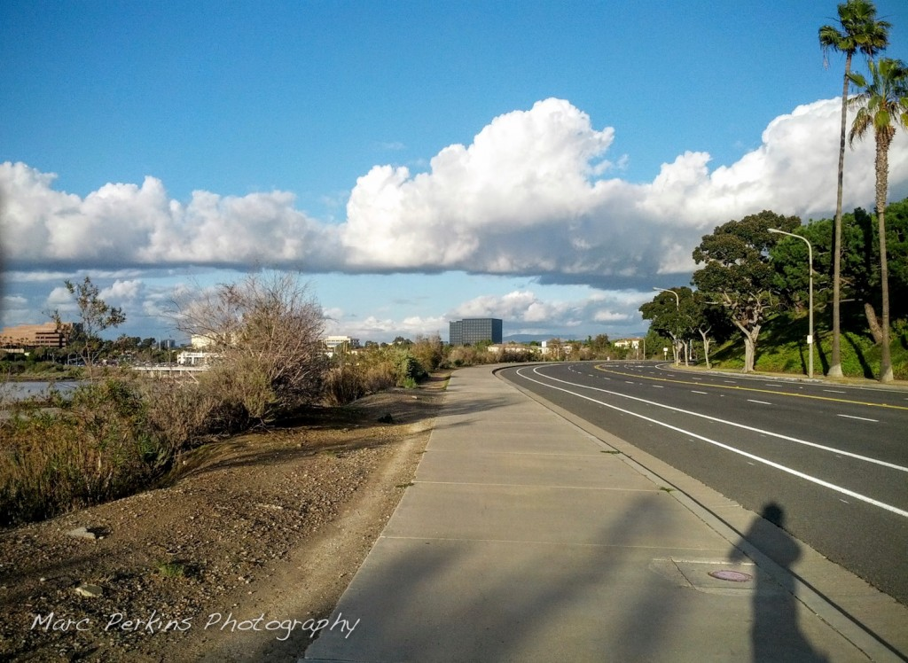 Eastbluff Drive's portion of the Newport Back Bay loop has a huge sidewalk that's perfect for riding on.