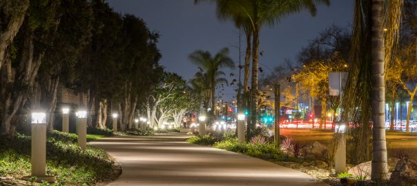 Harbor Blvd. Bike Trail at night