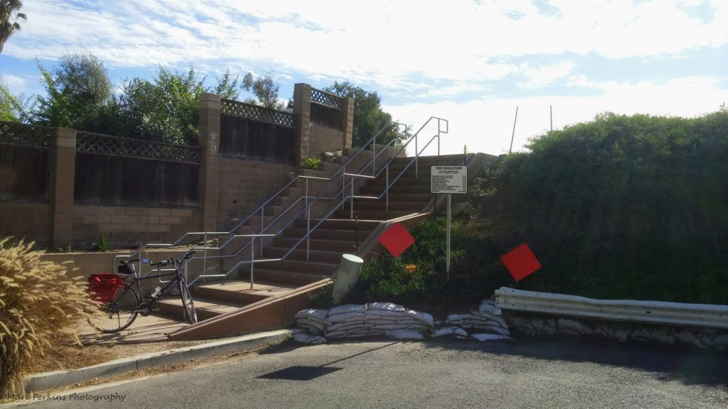 The stairs leading up to Fairview Park at Canary Drive.
