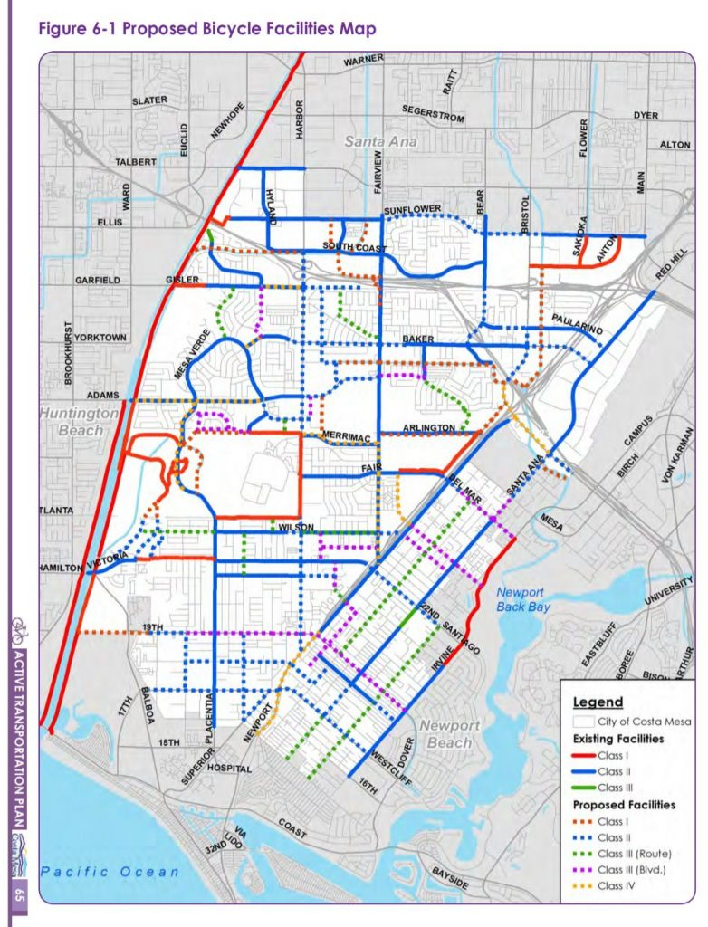 Map of proposed new and existing bike paths in Costa Mesa.
