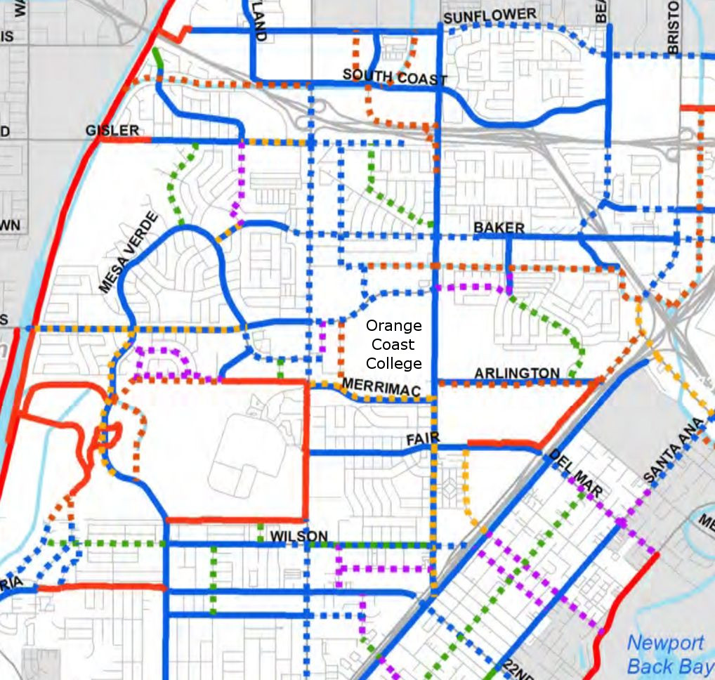Existing and proposed bike facilities around OCC