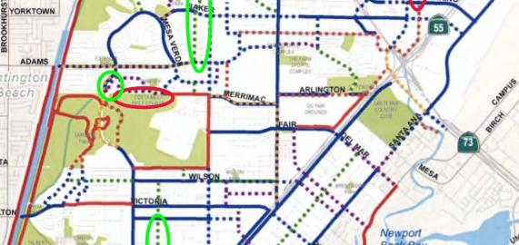 Image of bike paths in Costa Mesa
