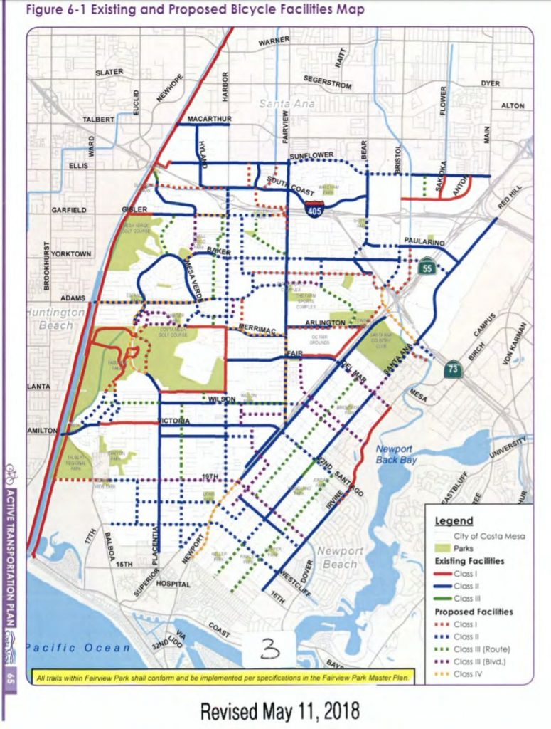 Diagram showing bike lanes in the city of Costa Mesa