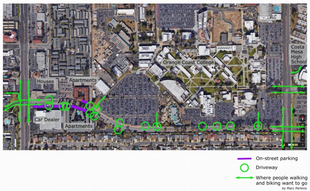 Marked-up satellite image of Merrimac Way.