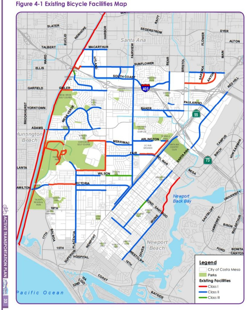 map of existing bike routes in Costa Mesa