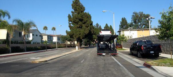 Truck blocks Merrimac Way.