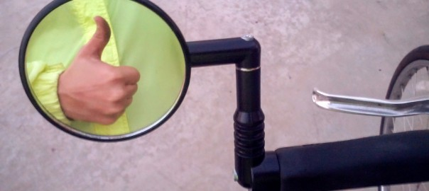 My Mirrycle MTB Bar End Mountain Bicycle Mirror mounted on my hybrid.