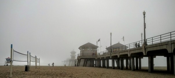 Fog at the Huntington Beach Pier.